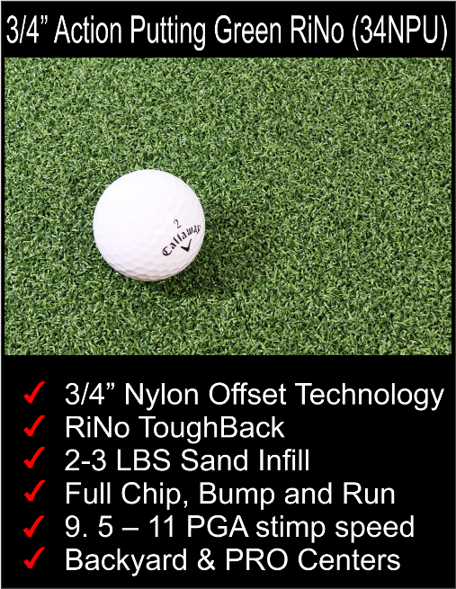 "3/4"" Nylon putting greens"